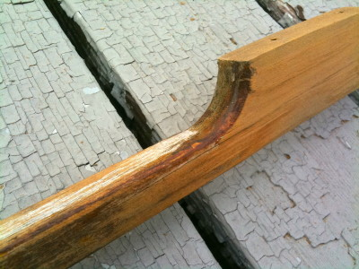 Partially Sanded Teak Handrail